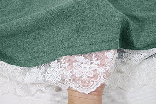 Taille Winfon Pull Top Blouse Casual Hiver Coton Tunique Grande Longue Femme Longue Tee Shirt Manche Vert rwnPgrqXU