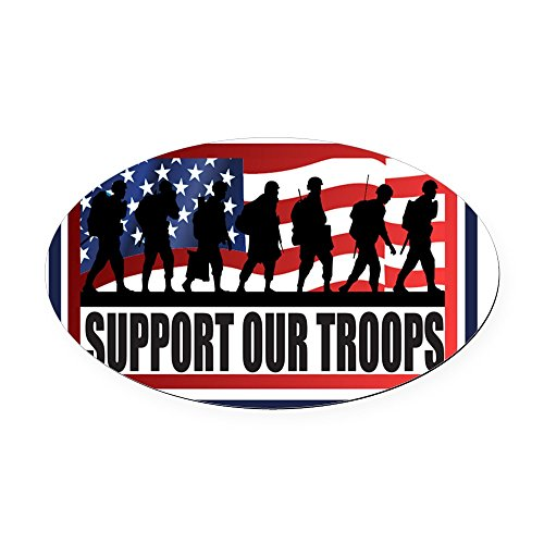 CafePress - Support Our Troops Oval Car Magnet - Oval Car Magnet, Euro Oval Magnetic Bumper Sticker