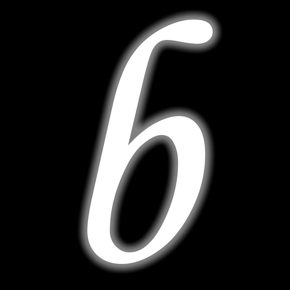 10 cm hoch 6 Leuchtfolie Kleben statt Bohren Selbstklebende Hausnummer Ziffer Zahlen Leuchtziffer leuchtend nachleuchtend Aufkleber