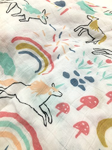 HGHG Baby Muslin Swaddle Blanket Your Receiving Blanket for Boys and Girls 47inches (Lovely Unicorn) by HGHG (Image #2)