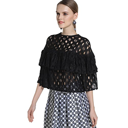 EOVVIO Women's Summer Ruffles Hollow Out Lace Tops Blouse Shirt