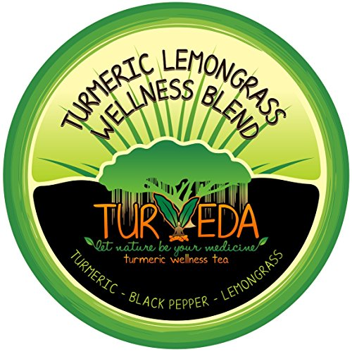 TURVEDA Turmeric & Lemongrass Decaffeinated Tea K-Cups (15 Count) | Curcumin Infused Lemongrass Instant Probiotic Mix for Cardiovascular Support and Healthy Aging, Non-GMO, Keurig Compatible