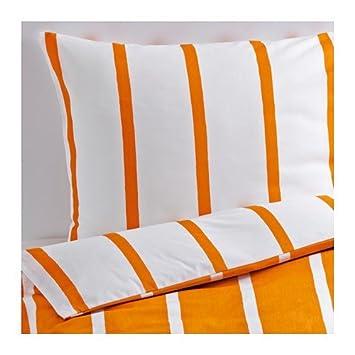 Ikea Bettwasche Garnitur Tuvbracka Orange Weiss Gestreift In 3 Grossen