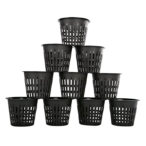 GOOTRADES 10 Pack Garden Round Plastic Net Cups 3 Inch Slotted Nursery Mesh Net Pots, Black