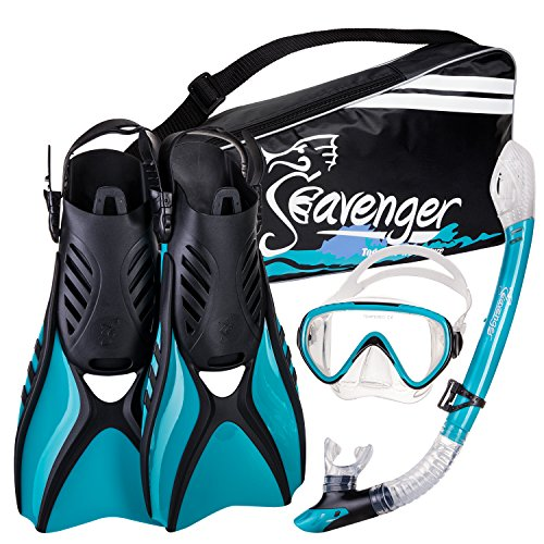 (Seavenger Advanced Snorkeling Set with Panoramic Mask, Trek Fins, Dry Top Snorkel & Gear Bag (Clear Teal, Medium))