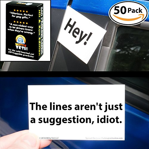 Witty Yetis Bad Parking Business Cards 5 Fun Designs, 50 Note Pack. Shame the Idiot Parkers of the World with Swift Justice. Funny Revenge for Mean Road Ragers & Morons. Gag Gift, Insult Set & Prank (Driver Passive)
