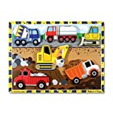 Melissa & Doug 3726 Construction Vehicles Wooden Chunky Puzzle, 6-Pieces