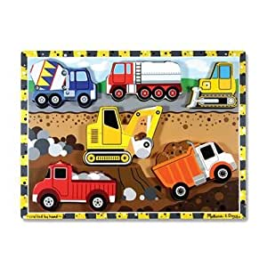 Melissa & Doug 3726 Construction Vehicles Wooden Chunky Puzzle, 6-Pieces