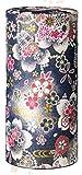 Ryu Mei Hanatsuzumi Japanese Tea Canister | Imported Japanese Tea Storage Tin | 192HR0 | Black Flower