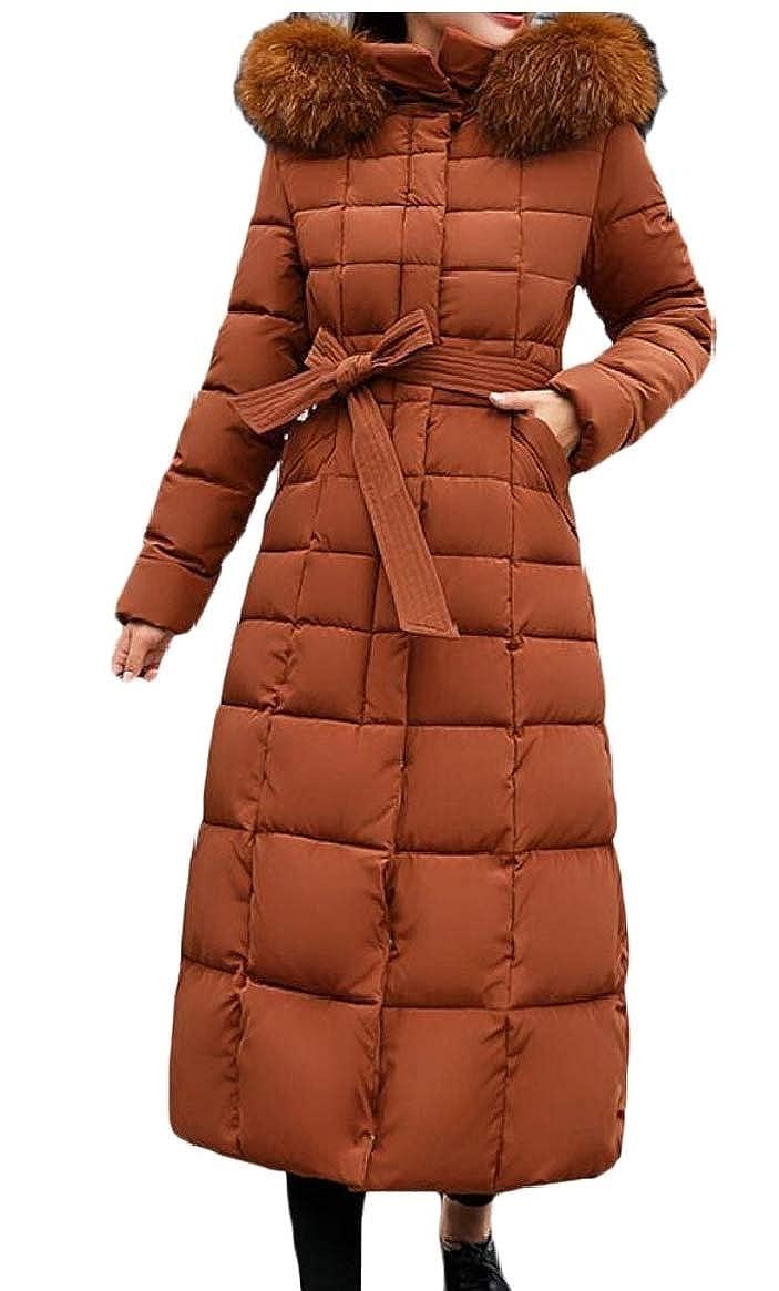 1 jxfd Women Warm Down Coat Faux Fur Hooded Parka Puffer Jacket Long Overcoat