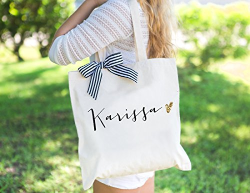 Personalized Glam Wedding Tote Bags for Bridal Party, Bridesmaid Bags Gifts for Bridesmaids and Maid of Honor Wedding (Personalized Tote Bags For Bridesmaids)