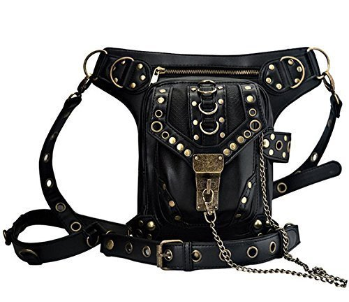 Nakimo Steampunk Waist Bag Gothic Retro Motorcycle Leather Bag Goth Shoulder ()