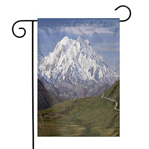 Quintion Kell(e)y Alaska Golden Retriever Garden flagMcKinley Mountain in Denali National Park in Alaska Scenic Landscape Warmfit Garden Flag W28 x L40 Inch Fern Green White Sky Blue -