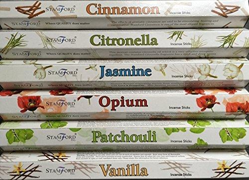 Stamford Premium Hex Range Incense Sticks - Cinnamon, Citronella, Jasmine, Opium, Patchouli & Vanilla 20 sticks per fragrance (120 sticks) by - Shopping Stamford