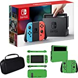 Nintendo Switch 32 GB Console with Neon Blue & Red Joystick Controllers with Deco Gear Hard Shell Carrying Case + Lime Skin Bundle