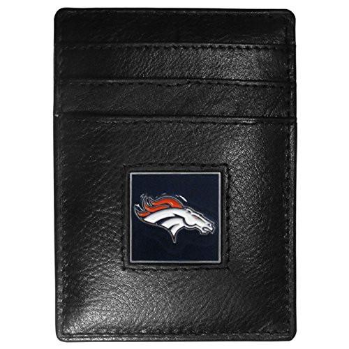 Denver Broncos Nfl Clip - Siskiyou NFL Denver Broncos Leather Money Clip/Cardholder Packaged in Gift Box, Black