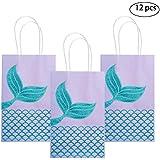 M MISS FANTASY Mermaid Gift Bags Mermaid Party Supplies Favors Goodie Bag Glitter Treat Bags for Under The Sea Party Mermaid Gifts for Girls Set of 12 (Purple Mermaid 12pcs)