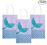 M MISS FANTASY Mermaid Gift Bags Mermaid Party Supplies Favors Goodie Bag Glitter Treat Bags for Under The Sea Party Mermaid Gifts for Girls Set of 12 (Purple Mermaid 12pcs)