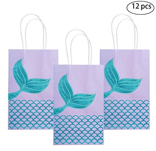 M MISS FANTASY Mermaid Gift Bags Mermaid Party Supplies Favors Goodie Bag Glitter Treat Bags for Under The Sea Party Mermaid Gifts for Girls Set of 12 (Purple Mermaid 12pcs) -