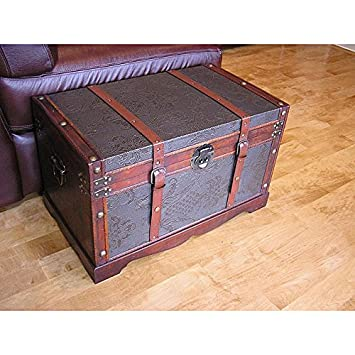 Decorative Storage Boxes / Vintage Decorative Boxes Medium Faux Leather Wooden Chest Steamer Trunk ss  sc 1 st  Amazon.com & Amazon.com: Decorative Storage Boxes / Vintage Decorative Boxes ...