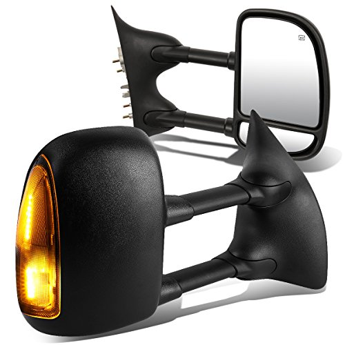 For Ford Super Duty Pair of Black Powered + Heated Smoked Signal + Manual Extendable Side Towing Mirrors