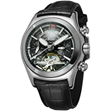 Forsining Men's Fashion Design Automatic Skeleton Dome Lens Calendar Watch with Leather Strap FSG9414M3S1