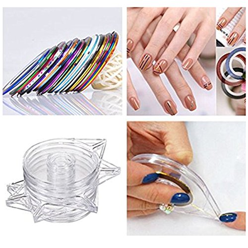 JOYJULY Nail Art Kit contains 30 Striping tape & 4Pcs Striping Roller Box & 12 Colors Rhinestones & 5pcs Dotting Pen & 15pcs Brush Set 10