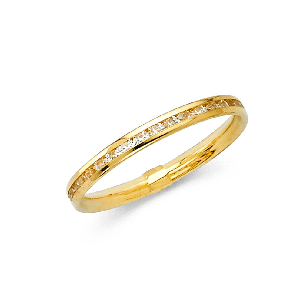 Universal Jewels 14k Solid Yellow Gold Eternity Band Stackable Ring Channel Set Endless Wedding Band 2.4 MM