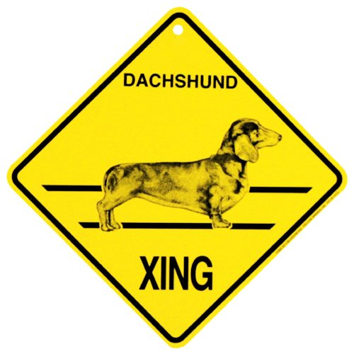 Dachshund short haired Xing caution Crossing Sign dog Gift (Dog Crossing)