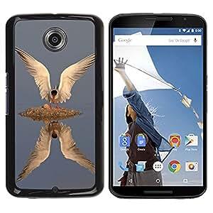 Peces Aves Gull Wings Reflexión Plumas- Metal de aluminio y de plástico duro Caja del teléfono - Negro - NEXUS 6 / X / Moto X Pro