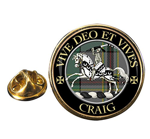 Craig (Latin motto) Clan Crest Badge with Gift Pouch