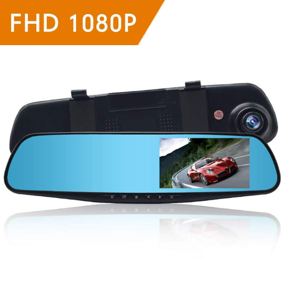 ZYWX Full HD 1080P 4.3-Inch Screen and Car Video Recorder 170° Wide Angle, Gravity Sensing, Night Vision