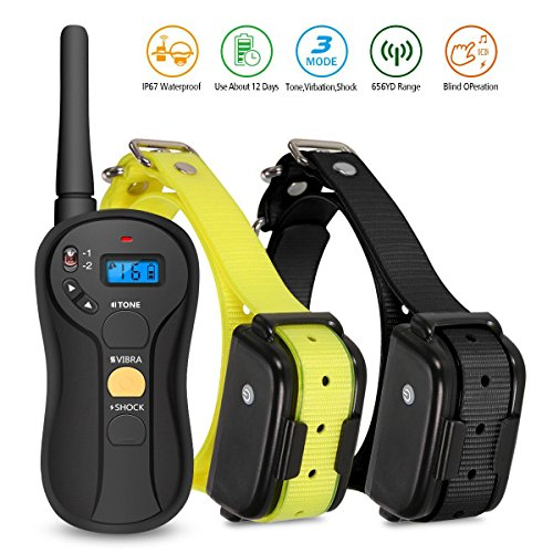 Remote Dog Training Collar, FOCUSPET Rechargeable Electric 655 yd Dog training Collar Waterproof 16 Levels Tone,Vibration & Shock for Small medium & Large Dogs