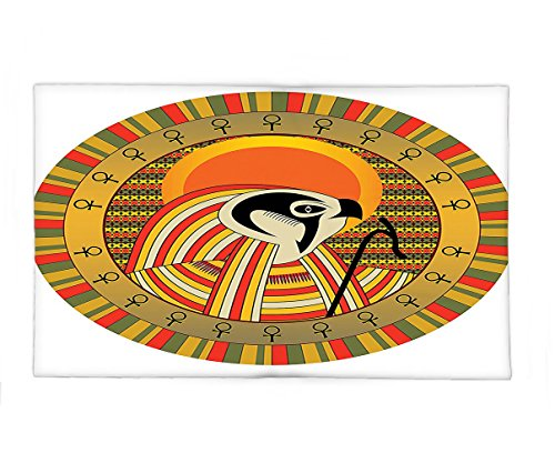 Interestlee Fleece Throw Blanket Egyptian Decor Illustration of Ancient Egyptian God Sun Ra in Colored Design Spirit Animal Culture Print Multi