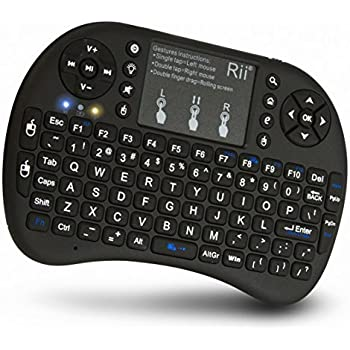 (Updated 2017,Backlit) Rii i8+ 2.4GHz Mini Wireless Keyboard with Touchpad Mouse, LED Backlit, Rechargable Li-ion Battery-Black