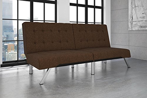 DHP Emily Futon Couch Bed, Modern Sofa Design Includes Sturdy Chrome Legs and Rich Linen Upholstery, Brown - Linen Set Daybed