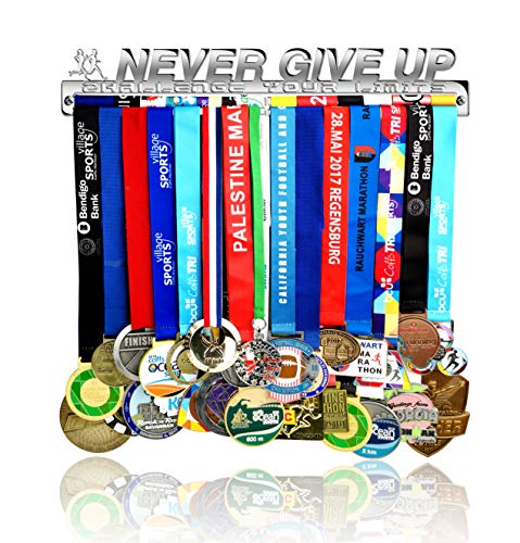Medal Holder Display Hanger Rack Frame - Stainless Steel Mirror Sturdy Wall Mount Over 40 Medals Easy to Install