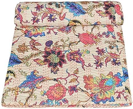 Indian Handmade Floral Print 100/% Pure Cotton Kantha Bedspread Handstitched Throw Quilt
