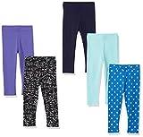 Spotted Zebra Girls' Kids Leggings, 5-Pack Blue