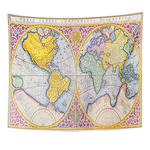 Emvency Decor Wall Tapestry Orbis Terrae Compendiosa Descriptio 16Th Century Map of The World in Latin by Mercator Published 1587 Wall Hanging Picnic for Bedroom Living Room Dorm 60x50 Inches