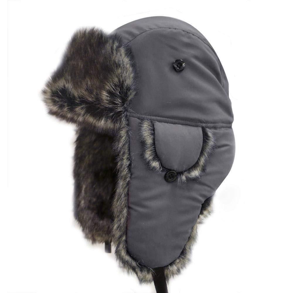 AOLVO Cappello Invernale Russo Unisex Cappello di Pelliccia Caldo e Antipolvere Cappellino da Sci cap Impermeabile Adatto a Escursioni Invernali -Nero