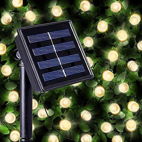 Guirnaldas Solares Luminosas de 200 LEDs de Color Blanco Cálido - Iluminación a base de energía solar para exteriores a prueba de agua - Lámpara de ...
