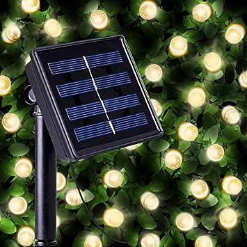 Guirnaldas Solares Luminosas de 100 LEDs de Color Blanco Cálido - Iluminación a base de energía