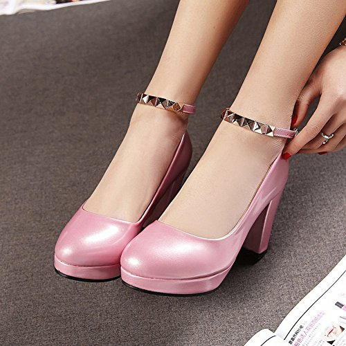 Carolbar Women's Sweet Fashion Rivets High Heel Platform Buckle Court Shoes Pink wkEgmLAO2