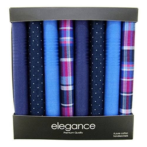 (Retreez 8 Piece Pure Cotton Assorted Men's Handkerchiefs Hanky Gift Box Set, Christmas gift - Assorted Set A5A001)
