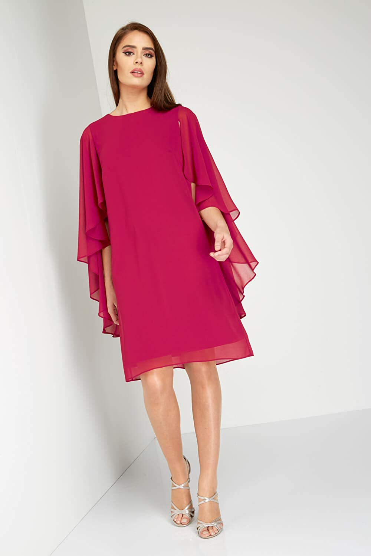 Roman Originals Womens Chiffon Cape Sleeve Dress - Ladies Party Knee Length Layered Asymmetric Sleeves Shift Dresses: Amazon.co.uk: Clothing