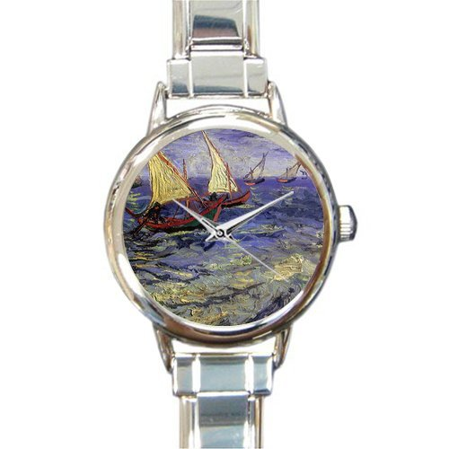 New Year Gifts/Thanksgiving Gifts Van Gogh Artworks Sail Boat Steel Round Italian Charm - Boat Italian Charm