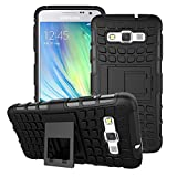 A3 Case, for Samsung Galaxy A3 Case, [Tyre Design] Tough Armor Case Dual Layer Protection Hybrid Cover Stand Cover [Good Grip] Shock Drop Bump Impact Resistant Cover (Free Premiums: 1x Stylus Pen+1x Screen Protector)(Black)