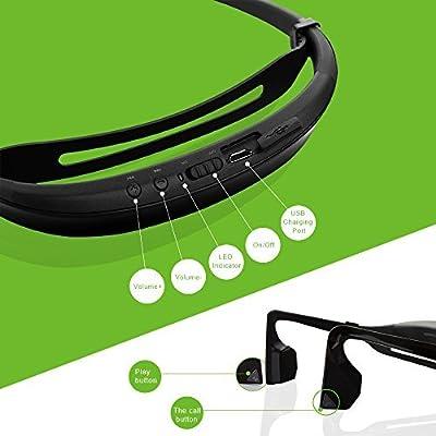 KSCAT Open-ear Bone Conduction Headphones Bluetooth V4.1 Earphones Wireless Sports Headset with Mic Sweatproof for Smartphones Bluetooth Devices