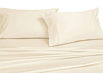 3c0e15a7f1cd Luxury Solid Ivory Olympic Queen Size 1000 Thread Count Sheet Set- 100%  Long Staple Cotton Sateen Weave Sheets